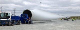 Rodvogn til transport af vindmøllevinger